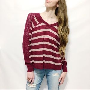 Free People Natural Crochet-Sleeve Stripe Sweater